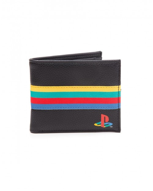 SONY PLAYSTATION SYMBOL COLOURED BAND BLACK BI-FOLD WALLET