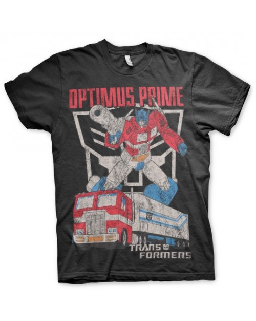 OFFICIAL TRANSFORMERS OPTIMUS PRIME TRUCK DISTRESSED PRINT BLACK T-SHIRT