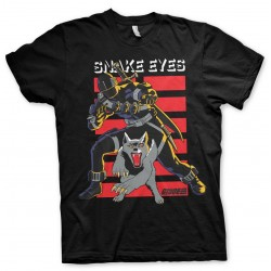 OFFICIAL G.I. JOE (G I JOE) SNAKE EYES AND TIMBER RETRO DISTRESSED PRINT BLACK T-SHIRT