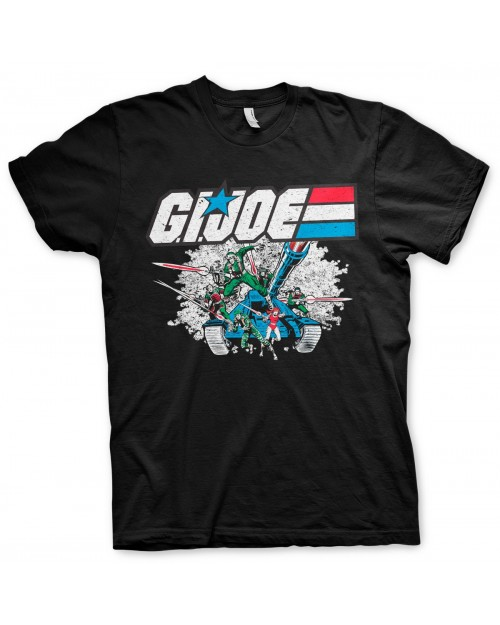 OFFICIAL G.I. JOE (G I JOE) TANK EXPLOSION RETRO DISTRESSED PRINT BLACK T-SHIRT