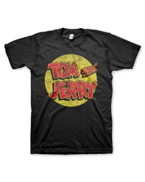 OFFICIAL TOM AND JERRY LOGO RETRO DISTRESSED PRINT BLACK T-SHIRT