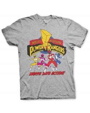 OFFICIAL MIGHTY MORPHIN POWER RANGERS 'MORPH INTO ACTION' DISTRESSED PRINT GREY T-SHIRT