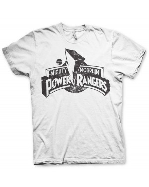 OFFICIAL MIGHTY MORPHIN POWER RANGERS LOGO DISTRESSED PRINT WHITE T-SHIRT