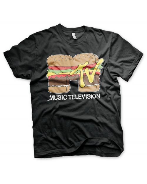 OFFICIAL MTV (MUSIC TELEVISION) HAMBURGER DISTRESSED PRINT BLACK T-SHIRT