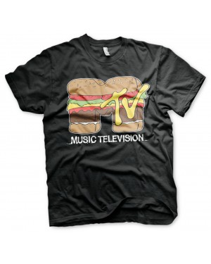 OFFICIAL MTV (MUSIC TELEVISION) HAMBURFER DISTRESSED PRINT BLACK T-SHIRT