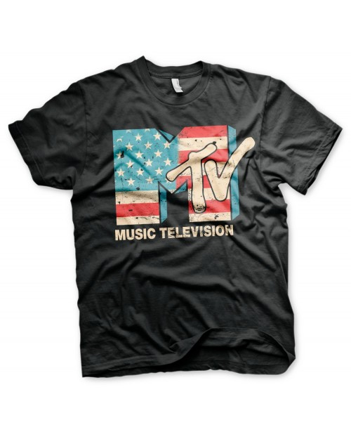 OFFICIAL MTV (MUSIC TELEVISION) USA FLAG DISTRESSED PRINT BLACK T-SHIRT