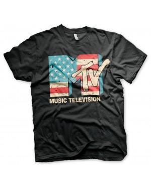 OFFICIAL MTV (MUSIC TELEVISION) USA FLAG DISTRESSED PRINT BLACK T-SHIRT
