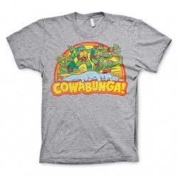 OFFICIAL TEENAGE MUTANT NINJA TURTLES (TMNT) COWABUNGA DISTRESSED PRINT GREY T-SHIRT