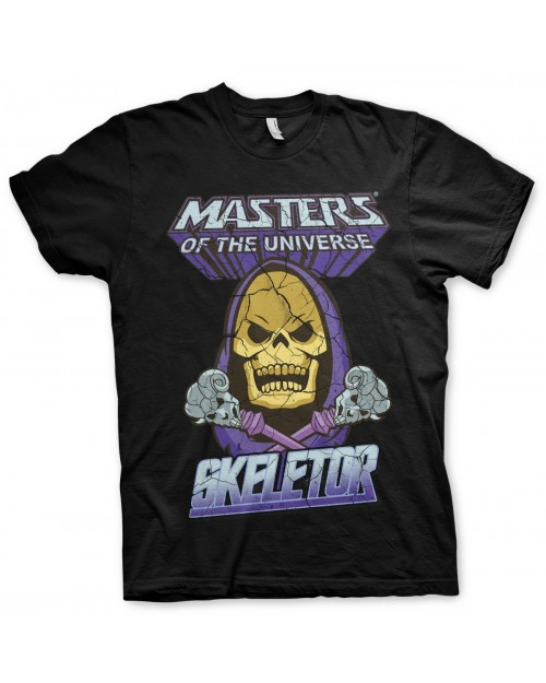 MASTERS OF THE UNIVERSE SKELETOR DISTRESSED PRINT BLACK T-SHIRT