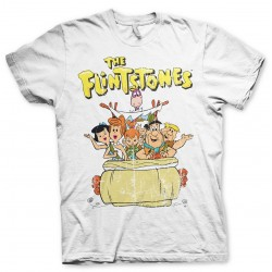THE FLINTSTONES GROUP DISTRESSED PRINT WHITE T-SHIRT
