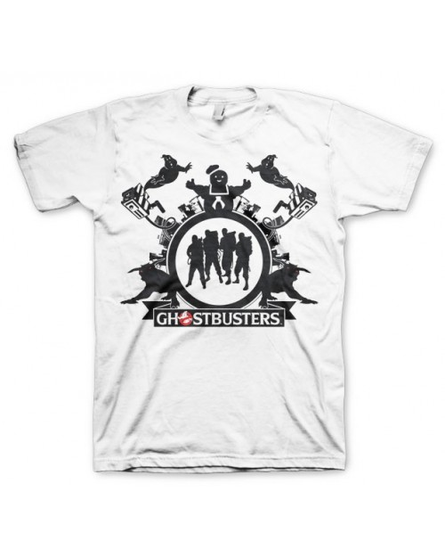 GHOSTBUSTERS GROUP DISTRESSED PRINT WHITET-SHIRT