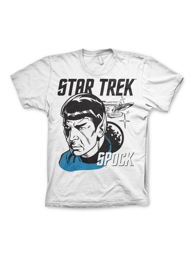 STAR TREK SPOCK ENTERPSISE/ SPACE PRINT WHITE T-SHIRT
