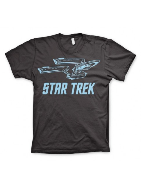 STAR TREK ENTERPSISE NCC-1701 STARFLEET PRINT BLACK T-SHIRT