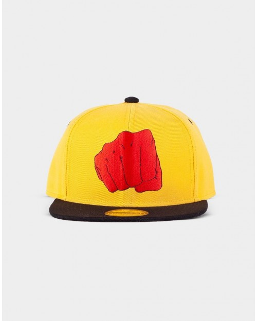 ONE PUNCH MAN FIST LOGO RED SYMBOL YELLOW SNAPBACK CAP