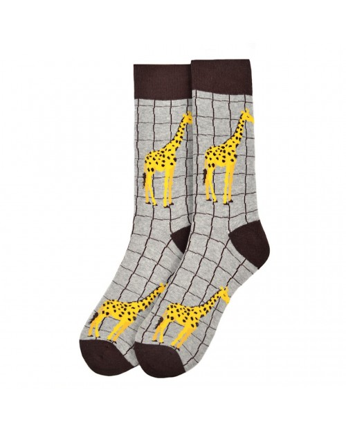CHILLING GIRAFFE GREY ALL OVER STYLE PAIR OF NOVELTY SOCKS