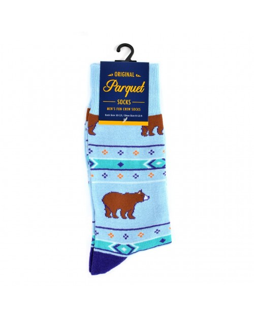 BROWN BEAR LIGHT BLUE ALL OVER STYLE PAIR OF NOVELTY SOCKS
