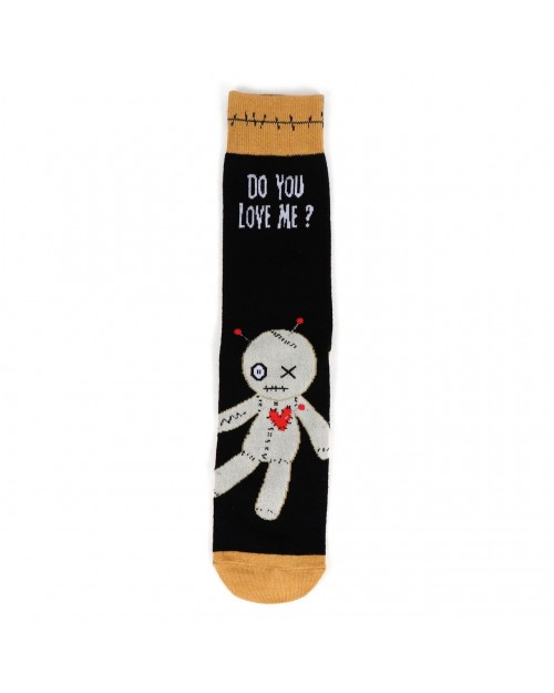 HALLOWEEN VOODOO DOLL ALL OVER STYLE PAIR OF NOVELTY SOCKS