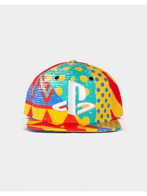 SONY PLAYSTATION LOGO 90S SHAPES AND COLOURS SNAPBACK BASEBALL CAP