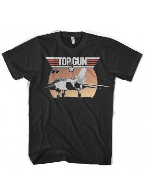 TOP GUN SUNSET F-14A TOMCAT FIGHTER BLACK T-SHIRT