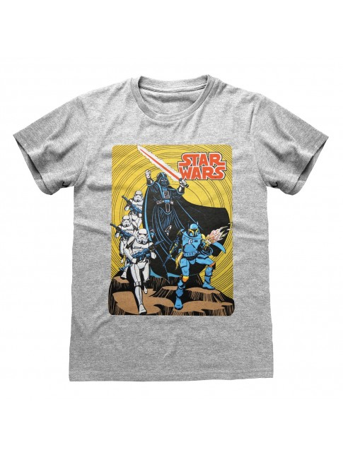 STAR WARS COMIC DARTH VADER, BOBA FETT & STORMTROOPERS GREY T-SHIRT