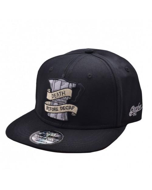 CARBON 212 DEATH BEFORE DECAF BLACK SNAPBACK CAP