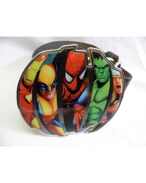 MARVEL SUPERHEROES: SPIDERMAN, WOLVERINE, IRONMAN, HULK & THOR BUCKLE with BELT