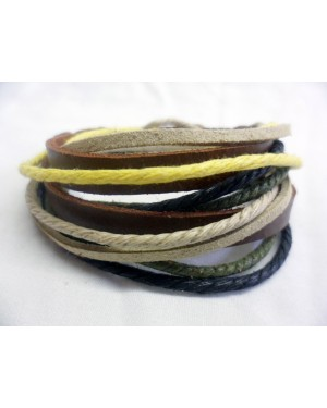 Yellow, green, brown, black rope and leathe cuff snap bracelet
