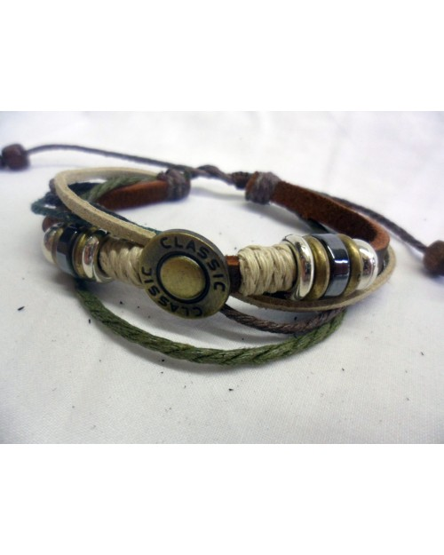 GREEN'S AND BROWN'S ROPE with BROWN LEATHER ADJUSTABLE BRACELETS