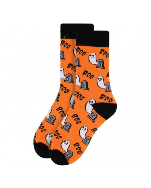 HALLOWEEN GHOST BOO ALL OVER STYLE PAIR OF NOVELTY SOCKS