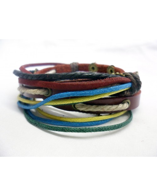 RED, BLUE, YELLOW ROPE/ METAL & LEATHER POPPER/ CUFF SURFER PUNK BRACELET