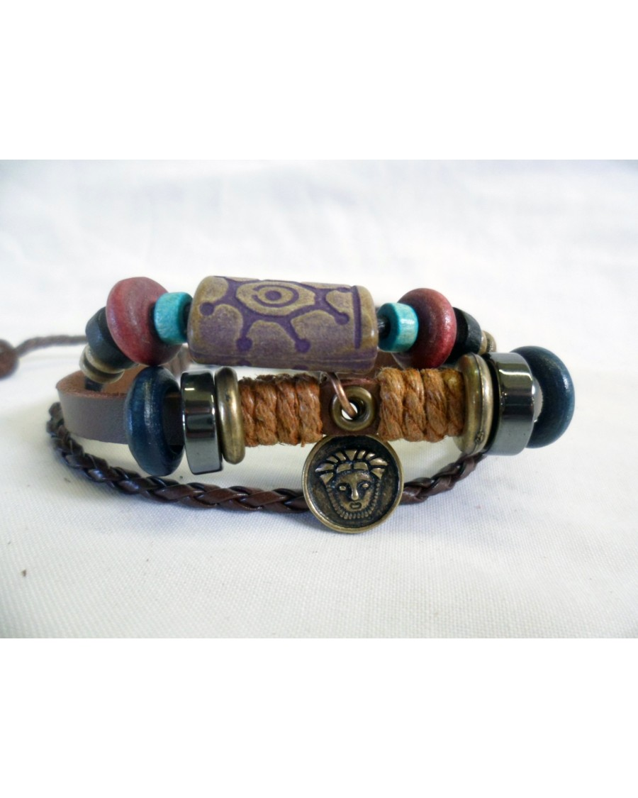 PUNK/ SURFER & TRIBAL BROWN ROPE & LEATHER ADJUSTABLE BRACELET