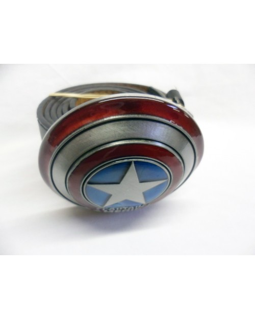 CAPTAIN AMERICA RED, GREY & BLUE SHIELD BUCKLE with BELT