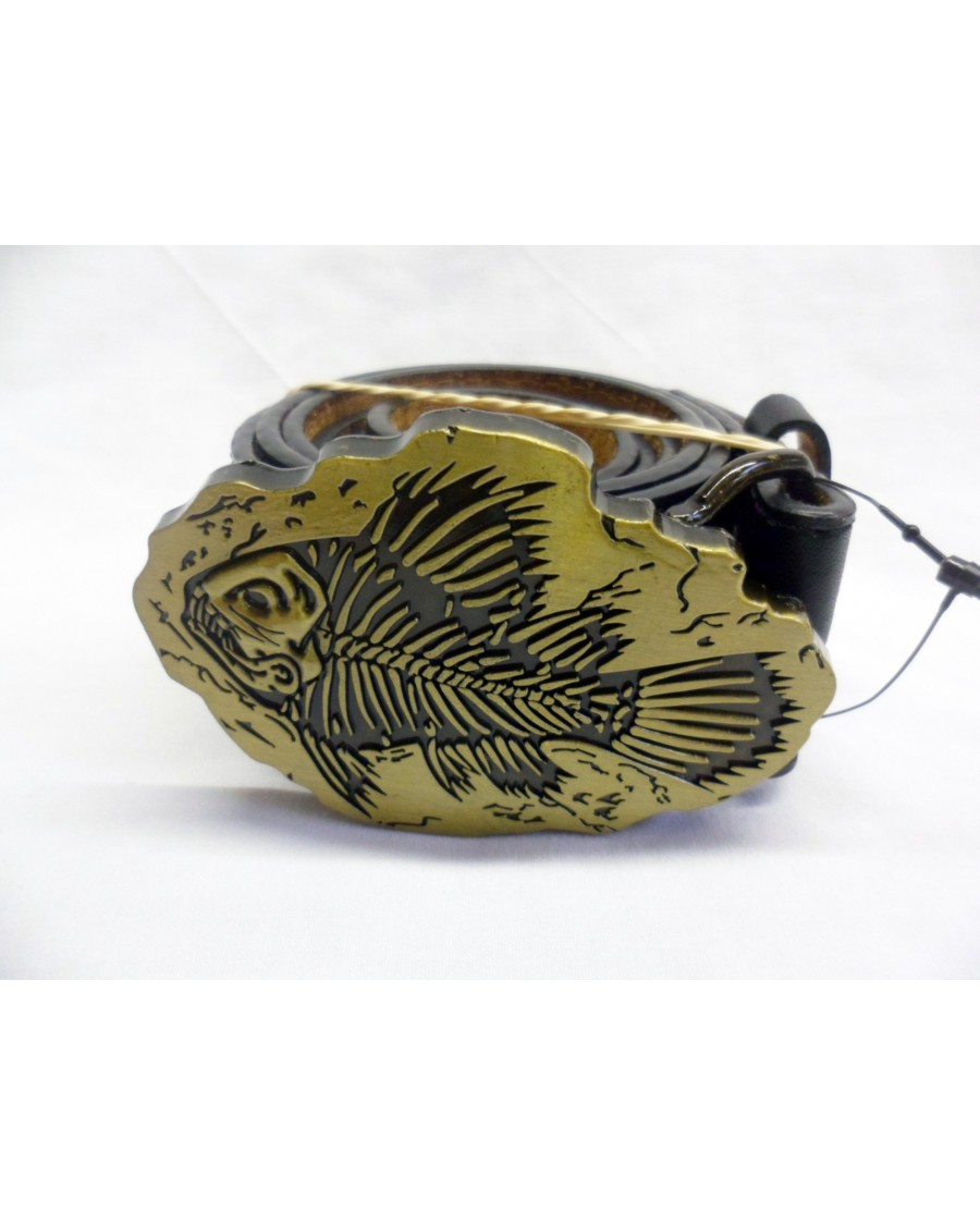BRONZE & GOLD LOOKING FISH FOSSIL BUCKLE with BELT