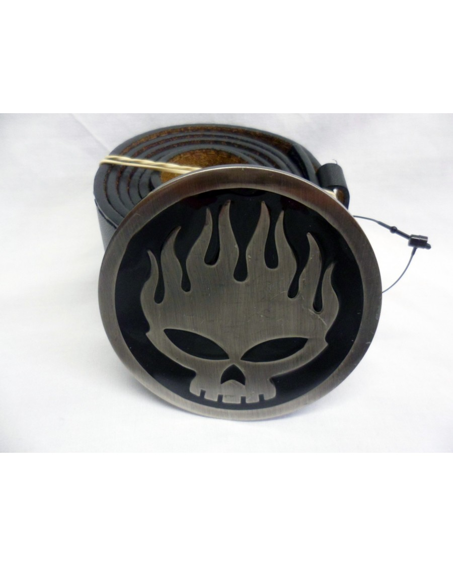 AWESOME SKATER FLAME SKULL ROUND BUCKLE with BELT