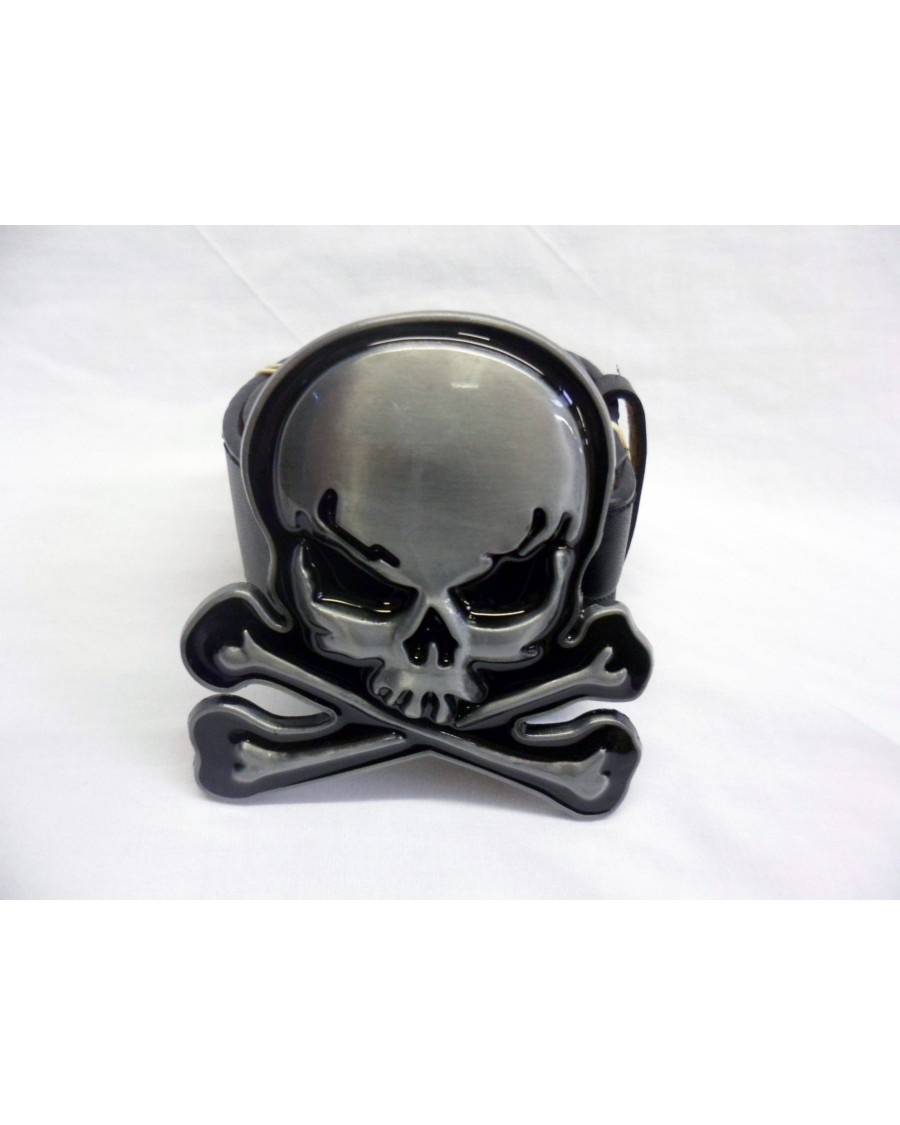 OFFICIALLY AWESOME GREY SKULL AND CROSSBONES BUCKLE with BELT