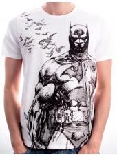 DC COMICS BATMAN & BATS PENCIL DRAWING WHITE T-SHIRT