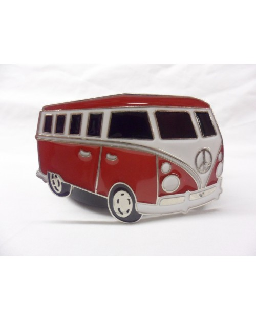 COOL RED, WHITE & BLACK PEACE CAMPER BUCKLE with BELT