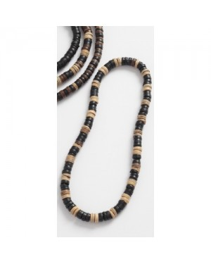 ELASTIC COCO WOOD BEADS NECKLACE [DARK COLOURS]