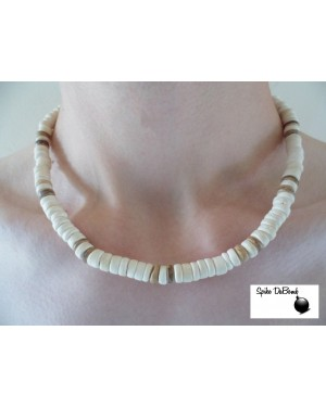 7-8mm COCO POKALET WHITE TIGER AND BROWN NECKLACE