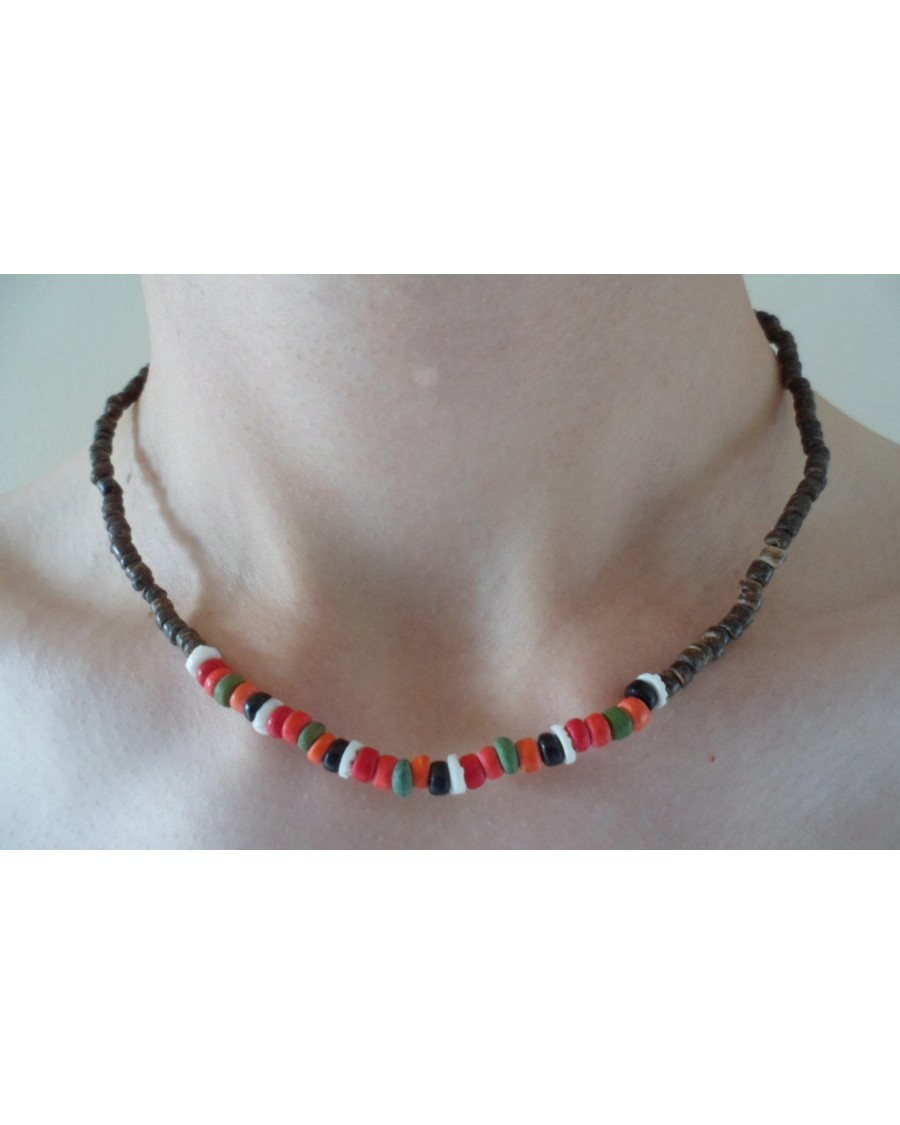 2-3mm BROWN COCO POKALET WITH RED, YELLOW & PINK COCO PKL NECKLACE