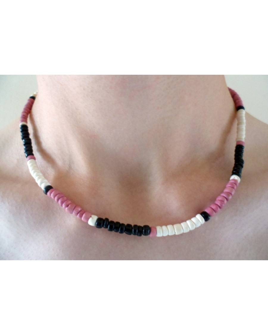 4-5mm COCO PUKALET BLACK, OLD ROSE AND WHITE NECKLACE