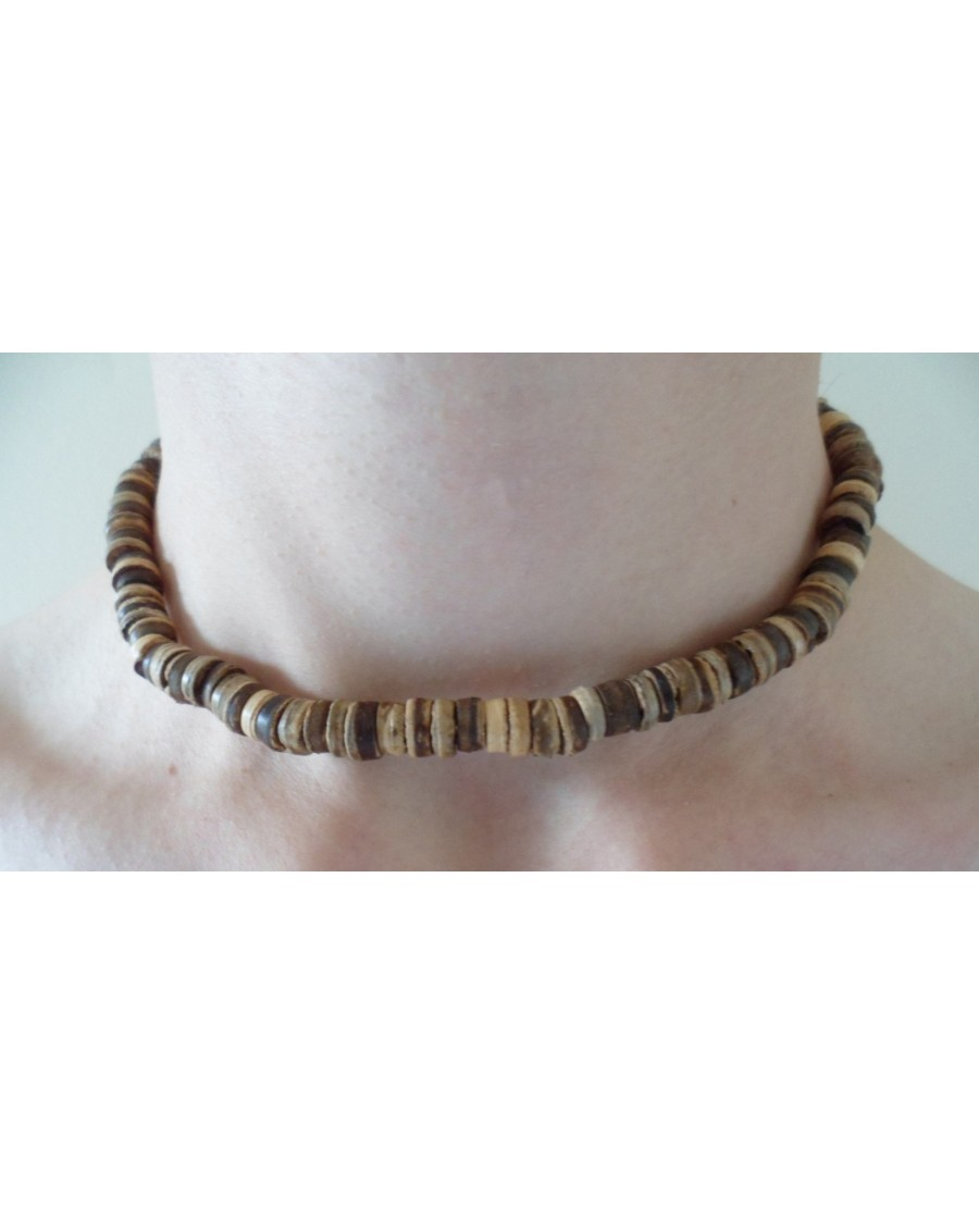 ELASTIC COCO WOOD BEADS NECKLACE [NATURAL COLOURS]
