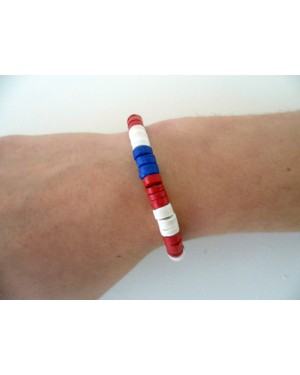 7-8mm COCO HEISHE ELASTIC BRACELET. [BLUE, RED & WHITE]