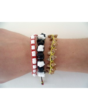 NASSA SHELL, YELLOW WITH BLACK & RED WAX CORD PAIRED TRIO BRACELET