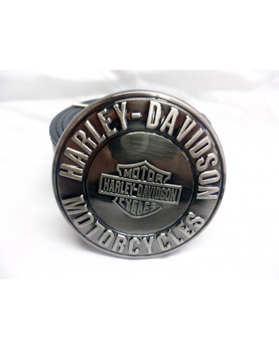 SHINY ROUND GREY HARLEY DAVIDSON MOTORCYCLES BUCKLE with BELT