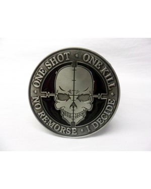'One Shot. One kill. No remorse. I decide.' TACTICAL MORALE BUCKLE with BELT