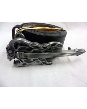 GREY & BLACK MONSTER FLAME EFFECT GUITAR BUCKLE  with BELT