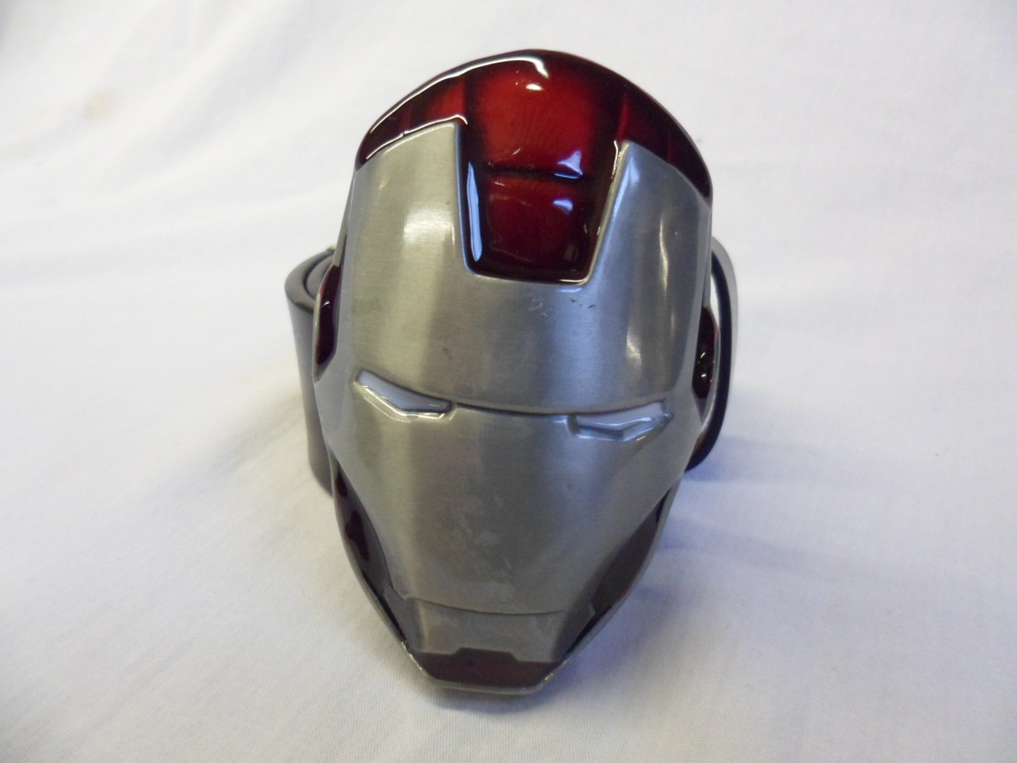 Avengers Iron Man 3D Silver Helmet Belt Buckle With Black Belt