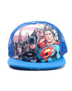 DC COMICS JUSTICE LEAGUE BATMAN/ SUPERMAN/ WONDERWOMAN BLUE TRUCKER SNAPBACK CAP