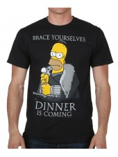 THE SIMPSONS HOMER 'BRACE YOURSELFS DINNER IS COMING' BLACK T-SHIRT